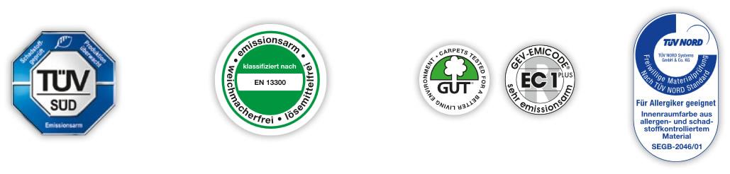 Siegel und Zertifikate für Innenfarben